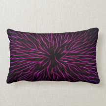 Funky Pink Fire Flower Abstract Throw Pillows