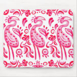 Funky Pink Flamigo Paisley Pattern Mouse Pad