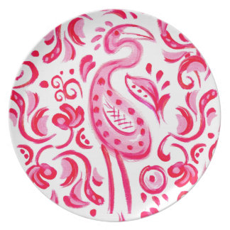 Funky Pink Flamigo Paisley Pattern Plate