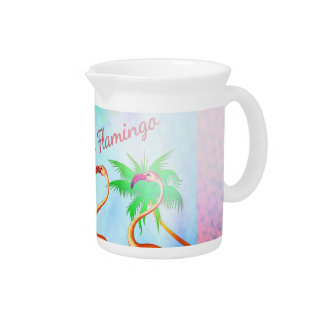 Funky Pink Flamingos Palm Trees Blue Sky Beverage Pitchers