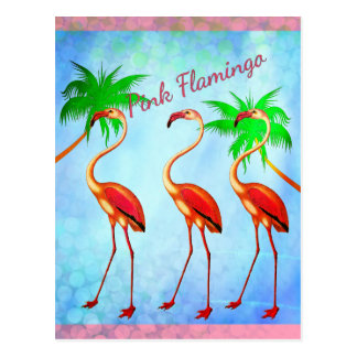 Funky Pink Flamingos Palm Trees Blue Sky Postcard