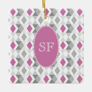 Funky Pink Gray Diamond Monogram Ceramic Ornament