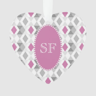 Funky Pink Gray Diamond Monogram Ornament