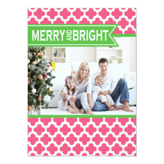 "Funky Pink Green Quatrefoil Holiday Flat Card 5.5"" X 7.5"" Invitation Card"