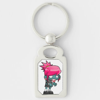 Funky Pink haired Zombie Girl Ghoul Keychain