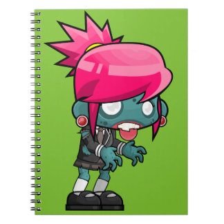 Funky Pink haired Zombie Girl Ghoul Notebook