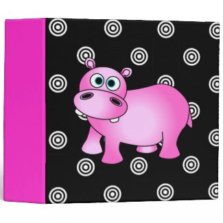 Funky Pink Hippo Photo / School Large Binder