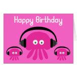 Funky Pink Jellyfish DJ Birthday Greeting Card