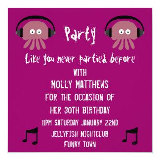 Funky Pink Jellyfish DJ Customizable Party Card