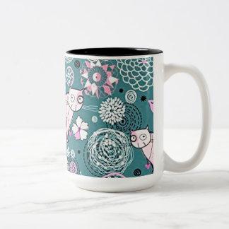 Funky Pink Kitty Cat Pattern Coffee Mug
