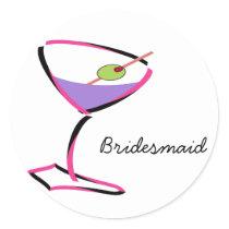 funky pink martini classic round sticker