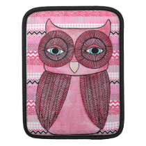 Funky Pink Owl Illustration IPAD Cover Sleeve