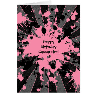 Funky pink paint splatter paintball Happy Birthday Greeting Card
