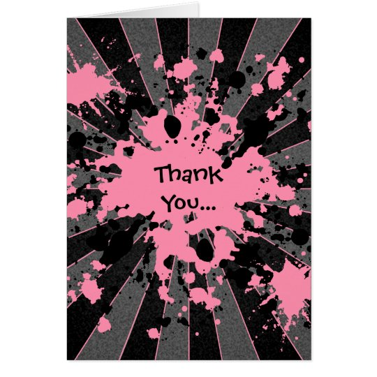 Funky pink paint splatter paintball thank you card
