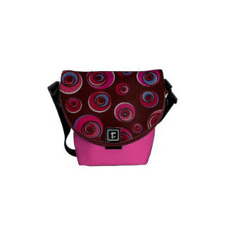 Funky Pink Retro Circles Messenger Bag