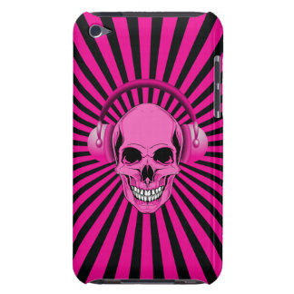 Funky Pink Skull with Headphones Barely There iPod Cover