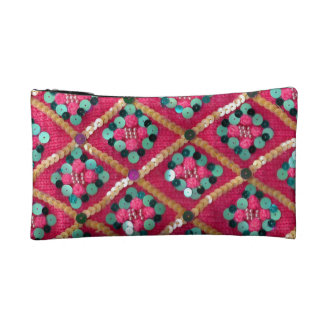 Funky Pink Textile Design Cosmetics Bags