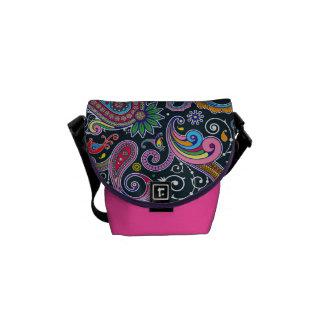 Funky Pink Vintage Retro Paisley Messenger Bag