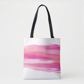 Funky Pink & White Paint Stroke Tote Bag