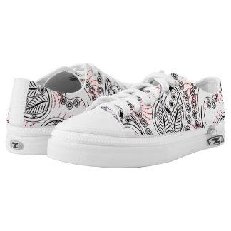Funky Pinwheel Paisley Design Low-Top Sneakers