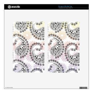 Funky Pinwheel Paisley Design Skins For Kindle Fire