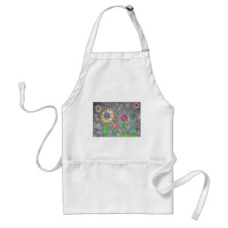 Funky Plants Watercolor Mosaic Adult Apron