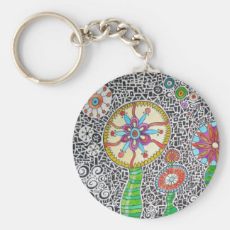 Funky Plants Watercolor Mosaic Basic Round Button Keychain