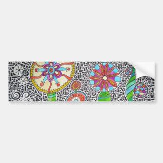 Funky Plants Watercolor Mosaic Car Bumper Sticker