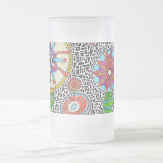 Funky Plants Watercolor Mosaic 16 Oz Frosted Glass Beer Mug