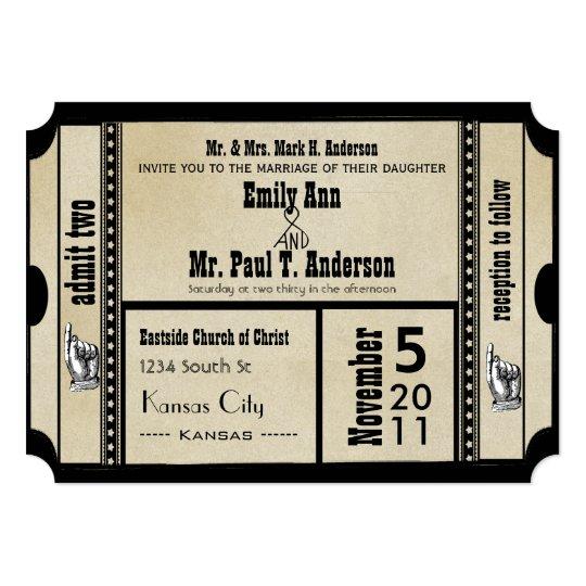 Funky Playbill Wedding Ticket Style Card