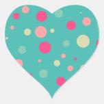 Funky polka dot heart sticker
