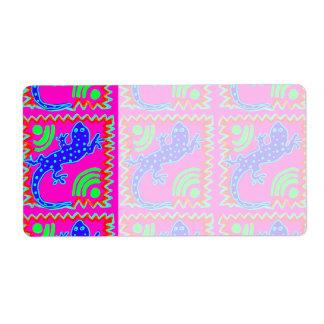 Funky Polka Dot Lizard Pattern Animal Designs Label