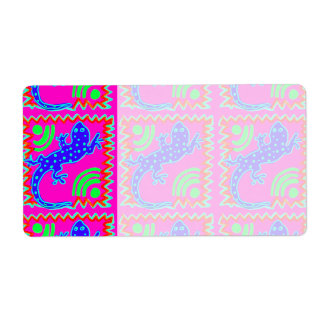 Funky Polka Dot Lizard Pattern Animal Designs Label