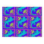 Funky Polka Dot Lizard Pattern Animal Designs Postcard