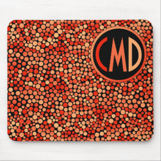 Funky Polka Dot Pattern in Red, Orange and Yellow Mouse Pad