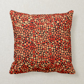 Funky Polka Dot Pattern in Red, Orange and Yellow Throw Pillow