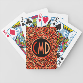 Funky Polka Dot Pattern in Red Orange and Yellow Poker Cards