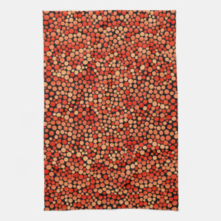 Funky Polka Dot Pattern in Red, Orange and Yellow Towel