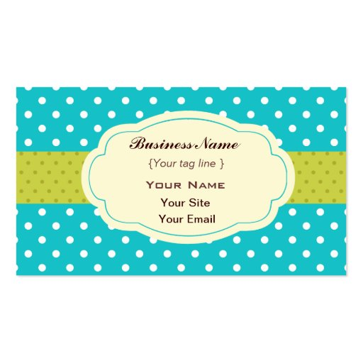 Funky polka dots business card template zazzle for Polka dot business card templates free