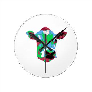 Funky Pop Art Cow Round Clock