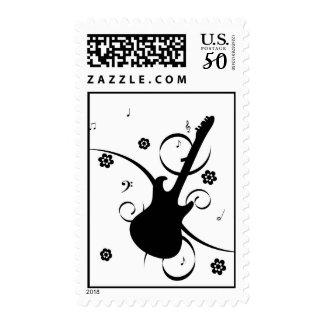 Funky pop rock guitar postage stamp