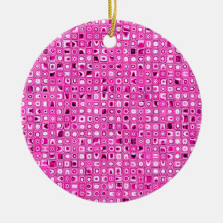 Funky 'Pretty In Pink' Mosaic Tiles Pattern Christmas Tree Ornament