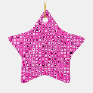 Funky 'Pretty In Pink' Mosaic Tiles Pattern Ornament