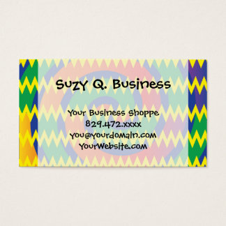 Funky Primary Colors Swirls Chevron ZigZags Design Business Card