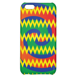 Funky Primary Colors Swirls Chevron ZigZags Design Case For iPhone 5C