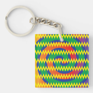 Funky Primary Colors Swirls Chevron ZigZags Design Keychain