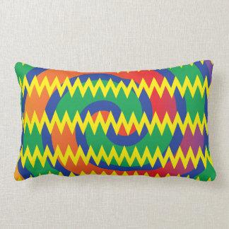 Funky Primary Colors Swirls Chevron ZigZags Design Pillow