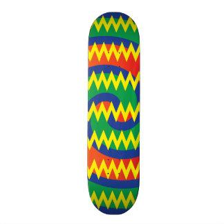 Funky Primary Colors Swirls Chevron ZigZags Design Skate Boards