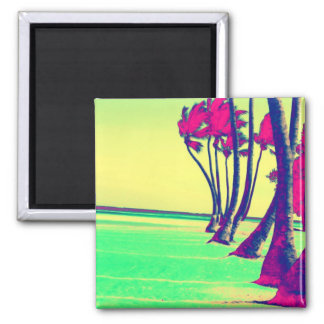 funky psychedelic beach design 2 inch square magnet