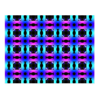 Funky Psychedelic Checkerboard Pattern Postcard